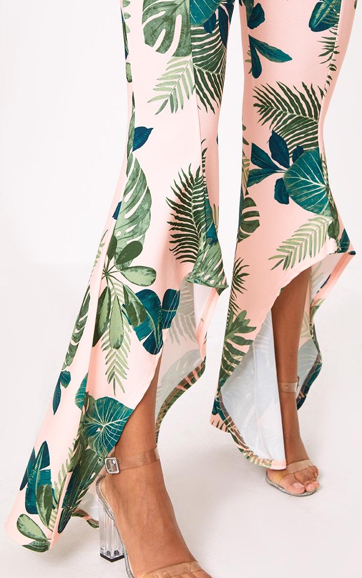 Pink Palm Print Hi Lo Hem Trousers 5