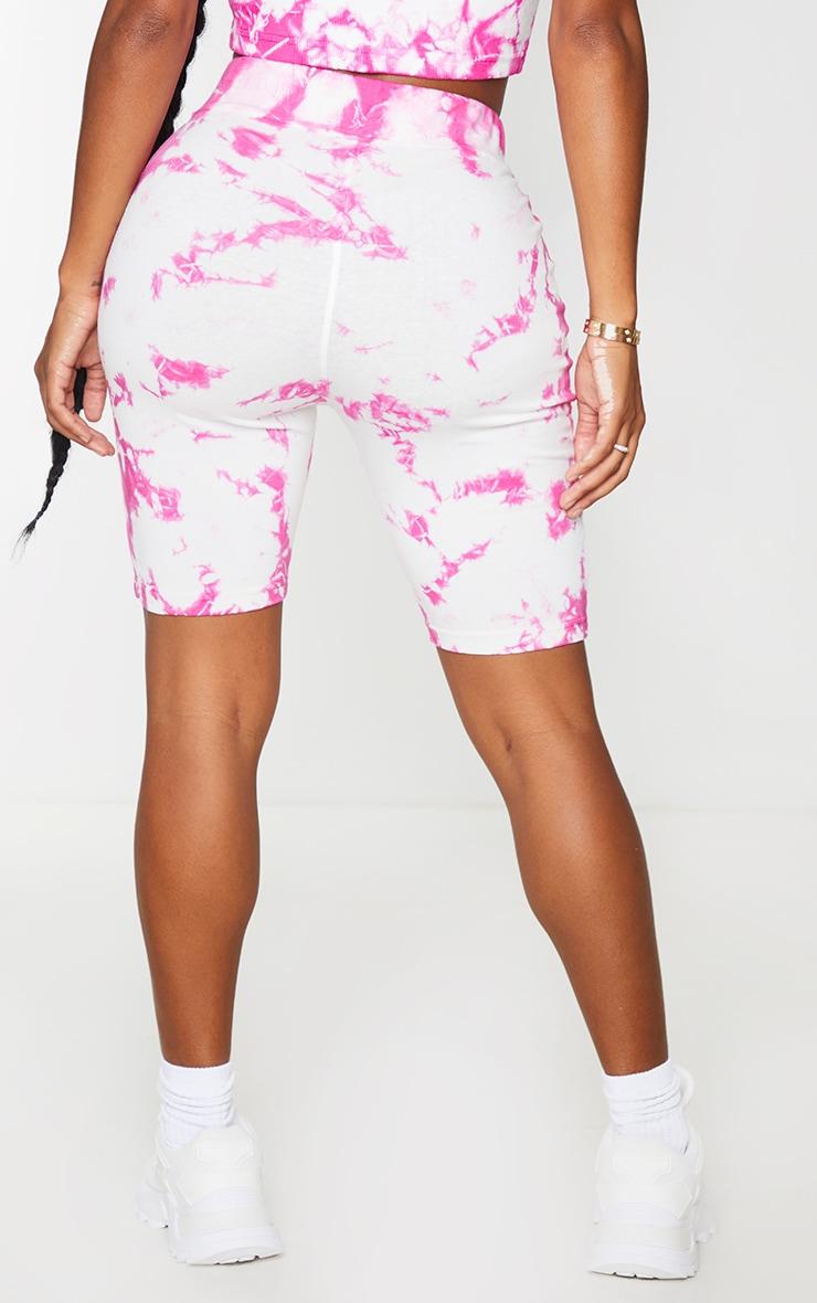 Shape Pink Tie Dye Cotton Bike Shorts 3