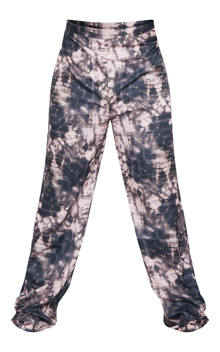 PLT Plus - Pantalon évasé marron imprimé tie & dye 5