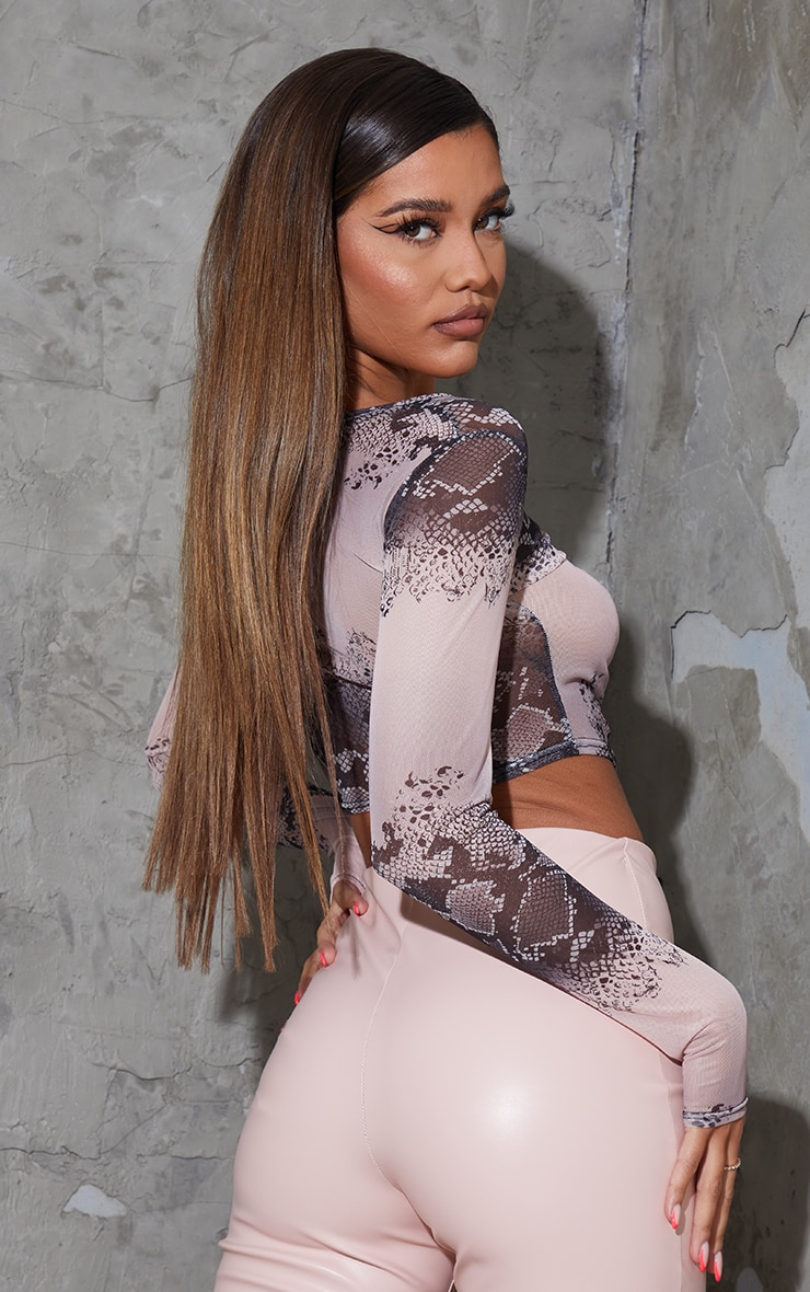 Nude Mesh Snake Print Ruched Front Long Sleeve Crop Top 2