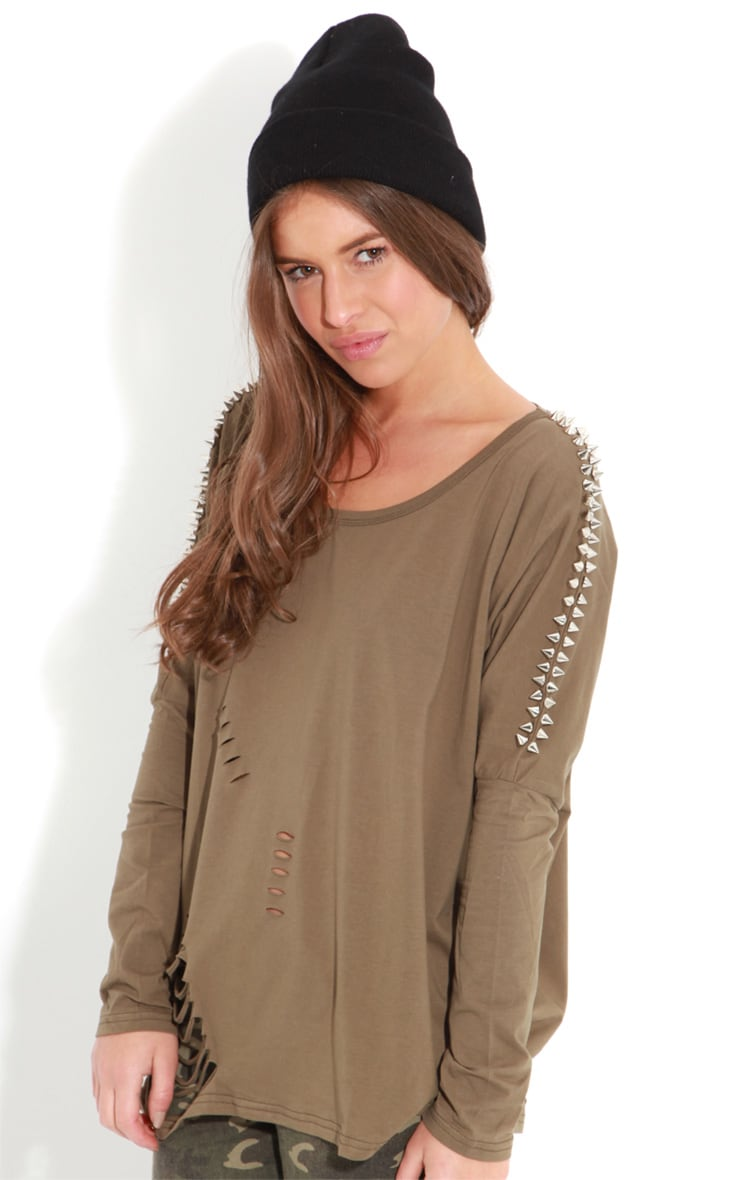 Maura Khaki Tee With Spike And Slit Detail 4