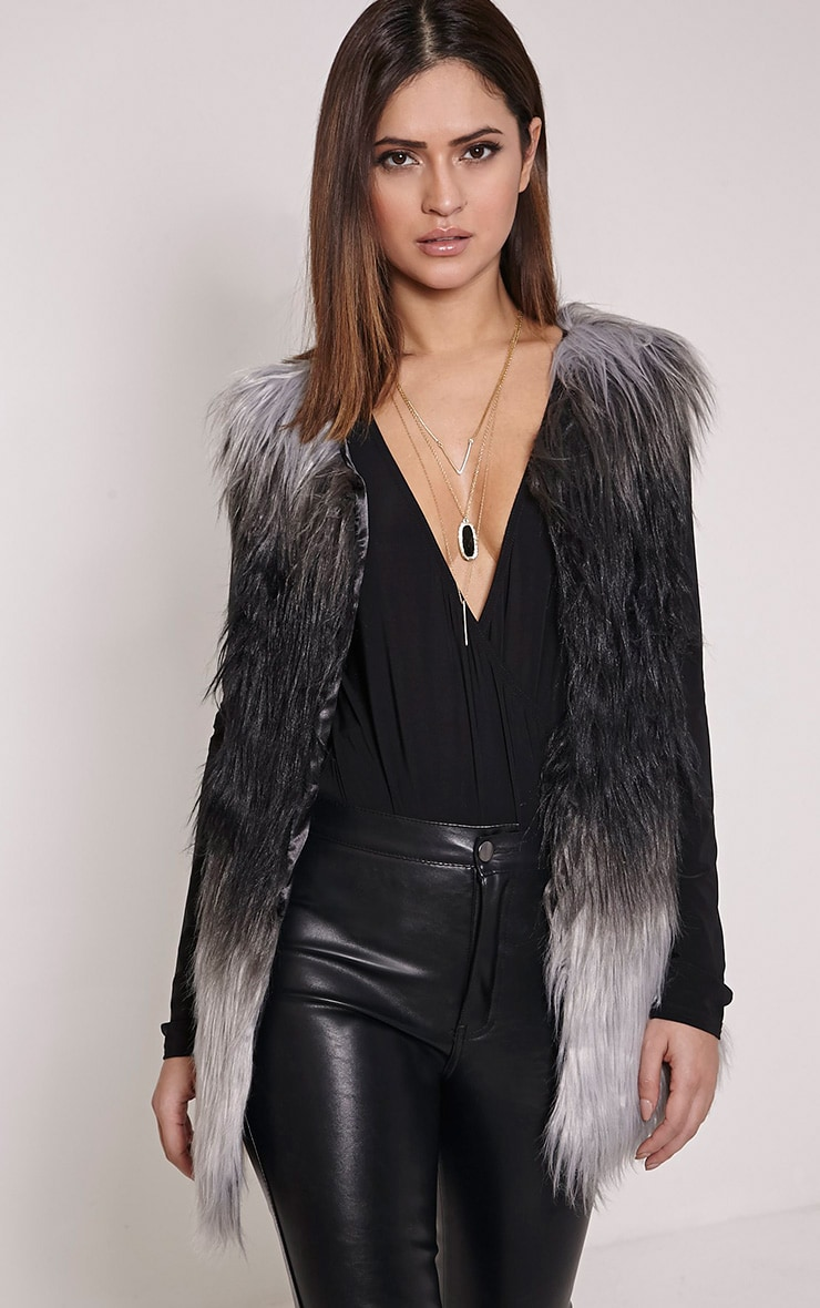 Lorraine Black Ombre Faux Fur Gilet 1