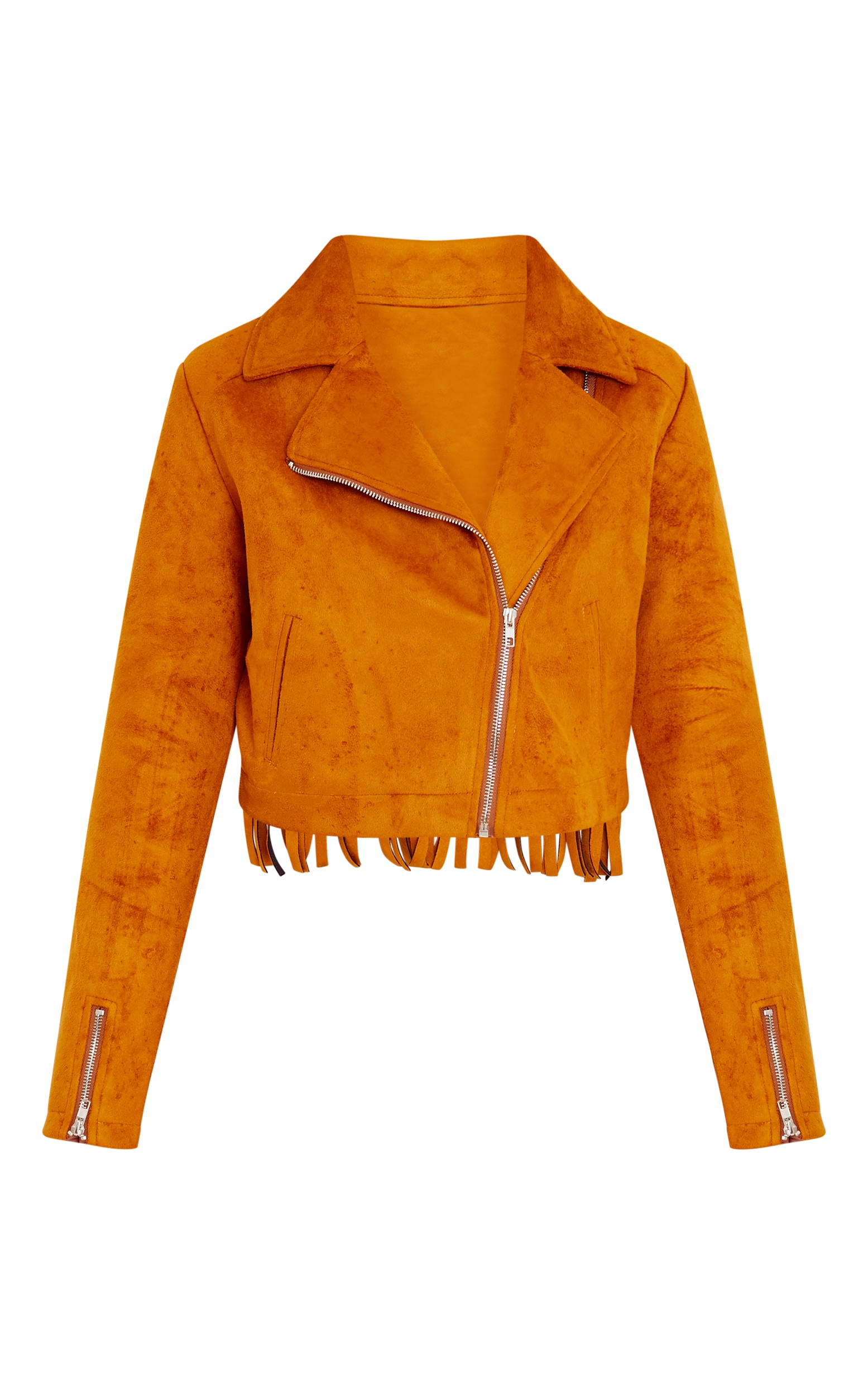 Shilla Tan Faux Suede Embroidered Detail Biker 3