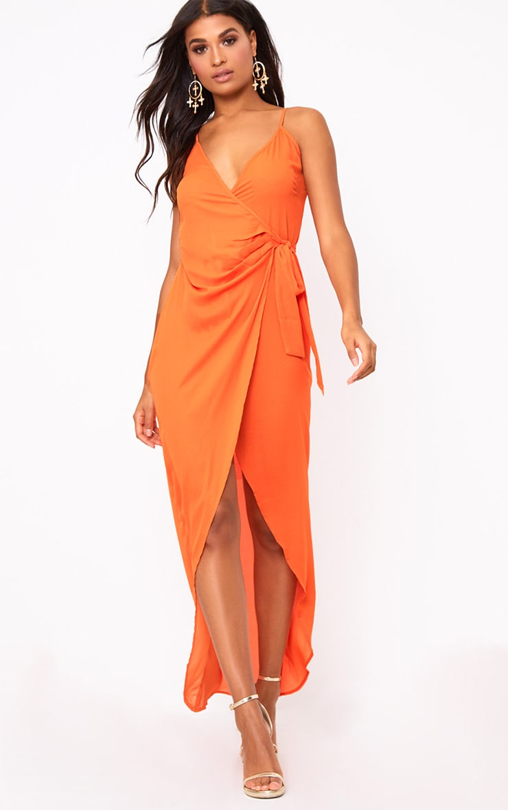 Orange Strappy Wrap Over Maxi Dress  1