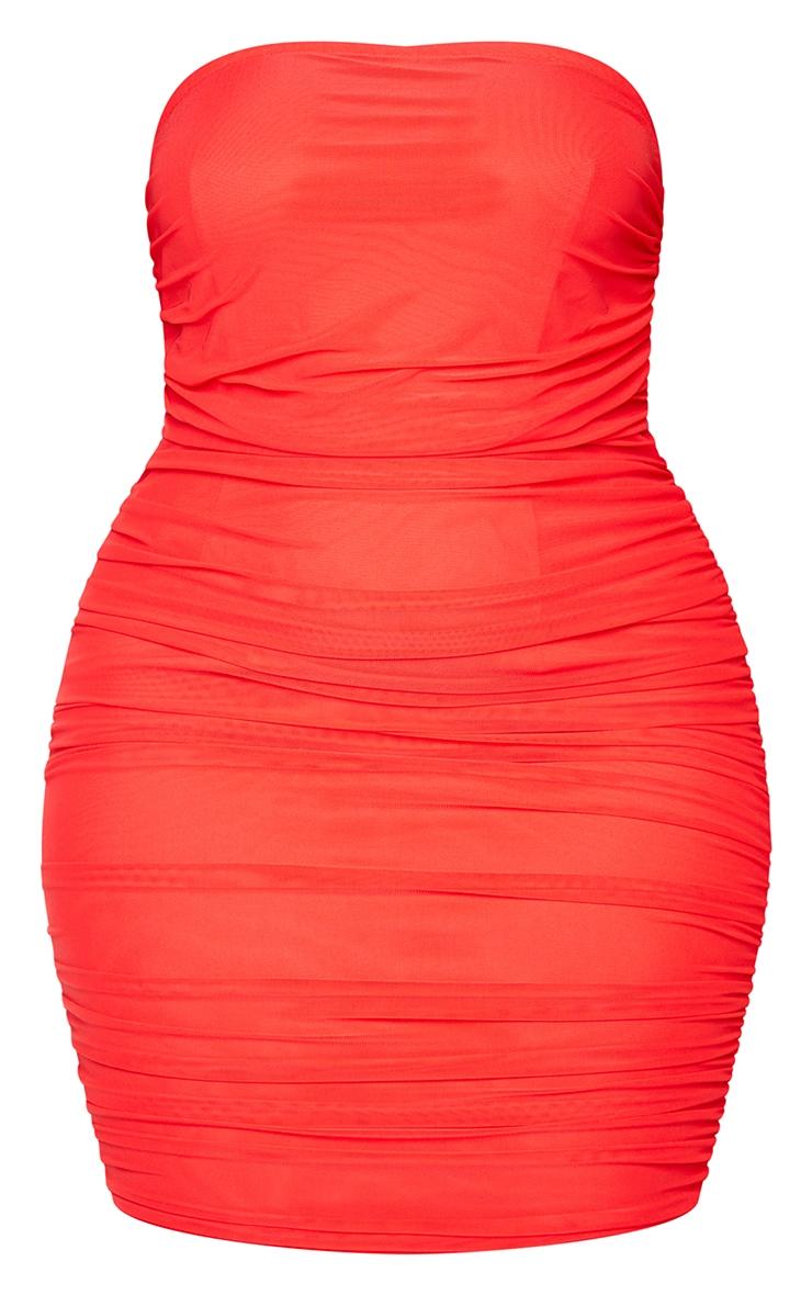 PLT Plus - Robe moulante rouge en mesh superposé froncé sans bretelles 5