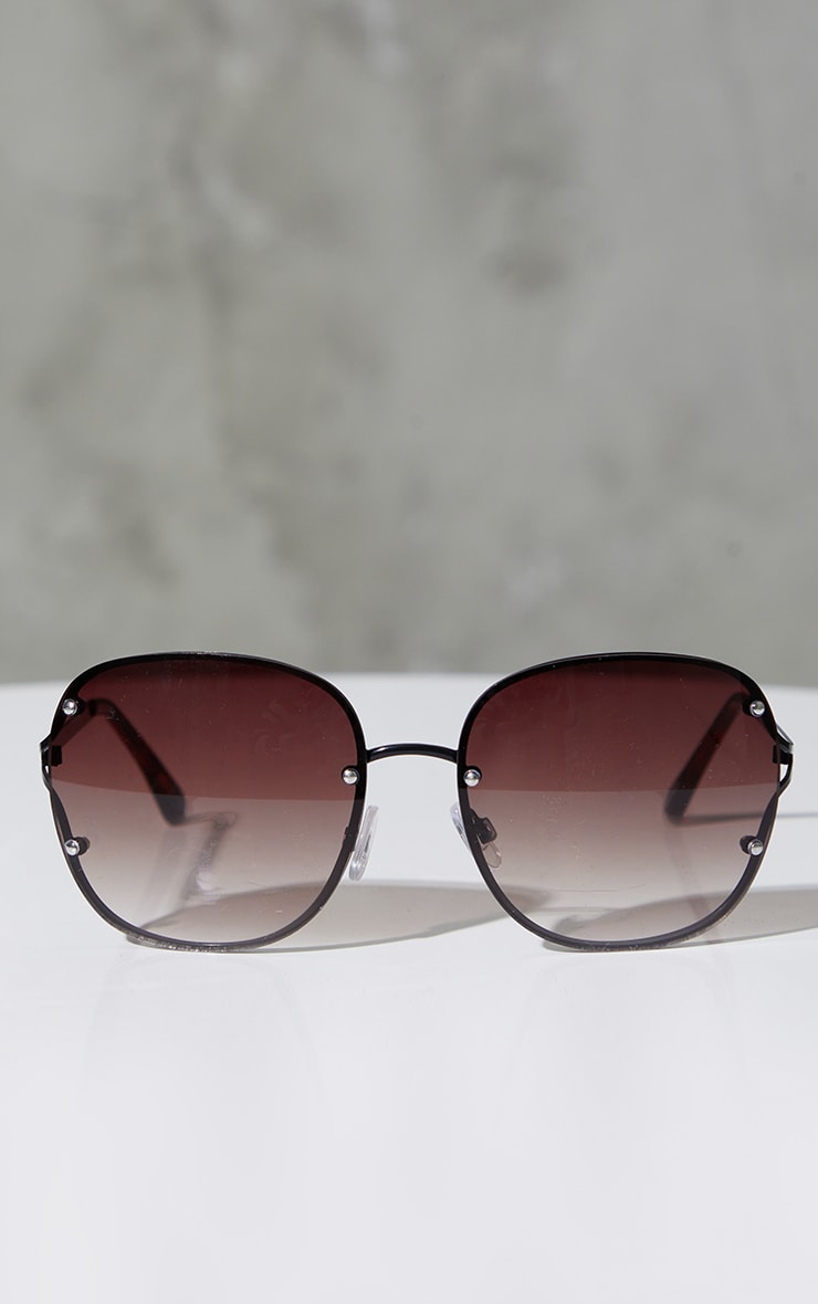 Black Rimless Oversized Rounded Sunglasses 2