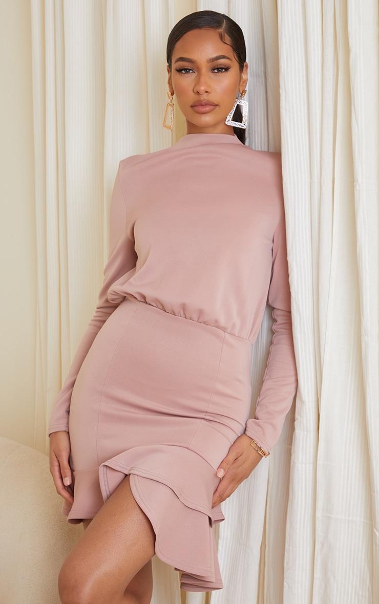 Dusty Pink Shoulder Pad Frill Hem Bodycon Dress 1