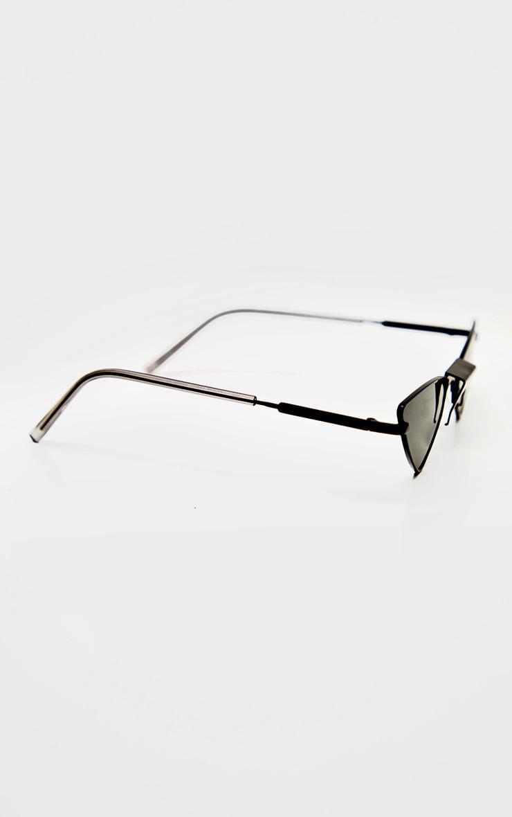 Black Tinted Angled Almond Shaped Sunglasses 4