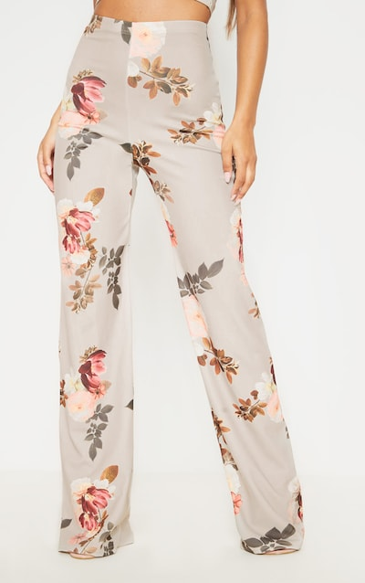 Stone Floral Print Crepe High Waisted Wide Leg Trouser