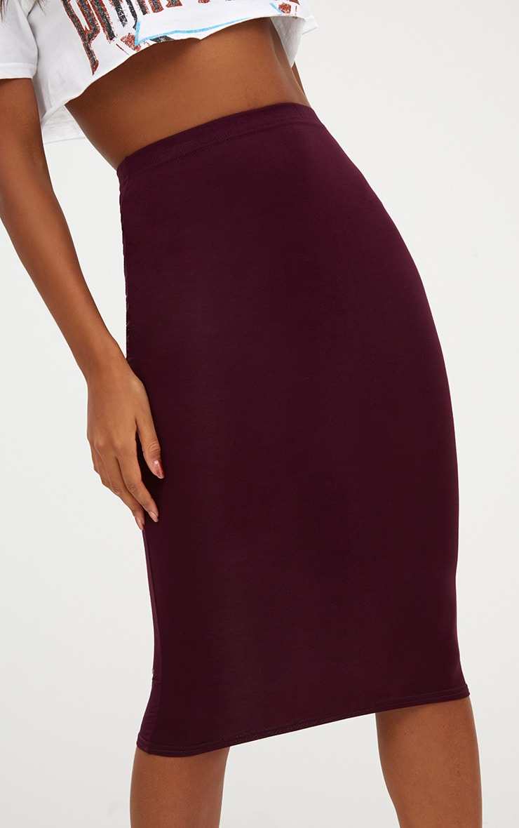 Plum/Charcoal 2 Pack Jersey Midi Skirt 7