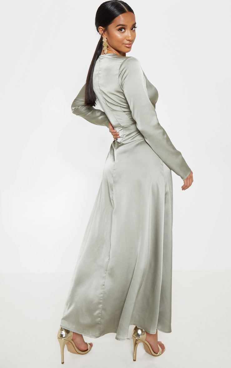 Petite Sage Green Twist Front Maxi Dress 2
