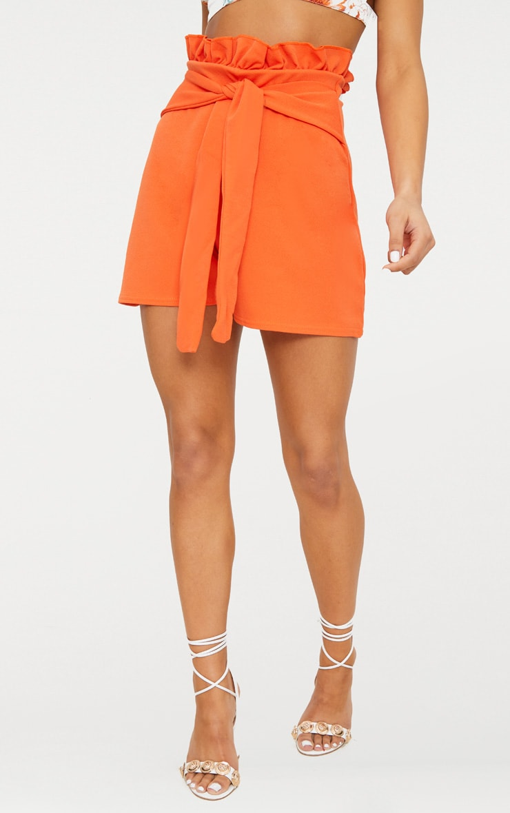 Orange Paperbag Waist Shorts 2