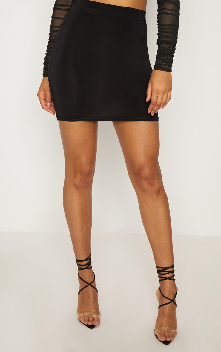 Black Slinky Ruched Seam Detail Mini Skirt 2
