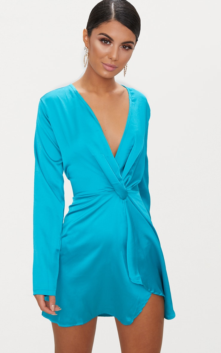 Teal Satin Long Sleeve Wrap Dress 1