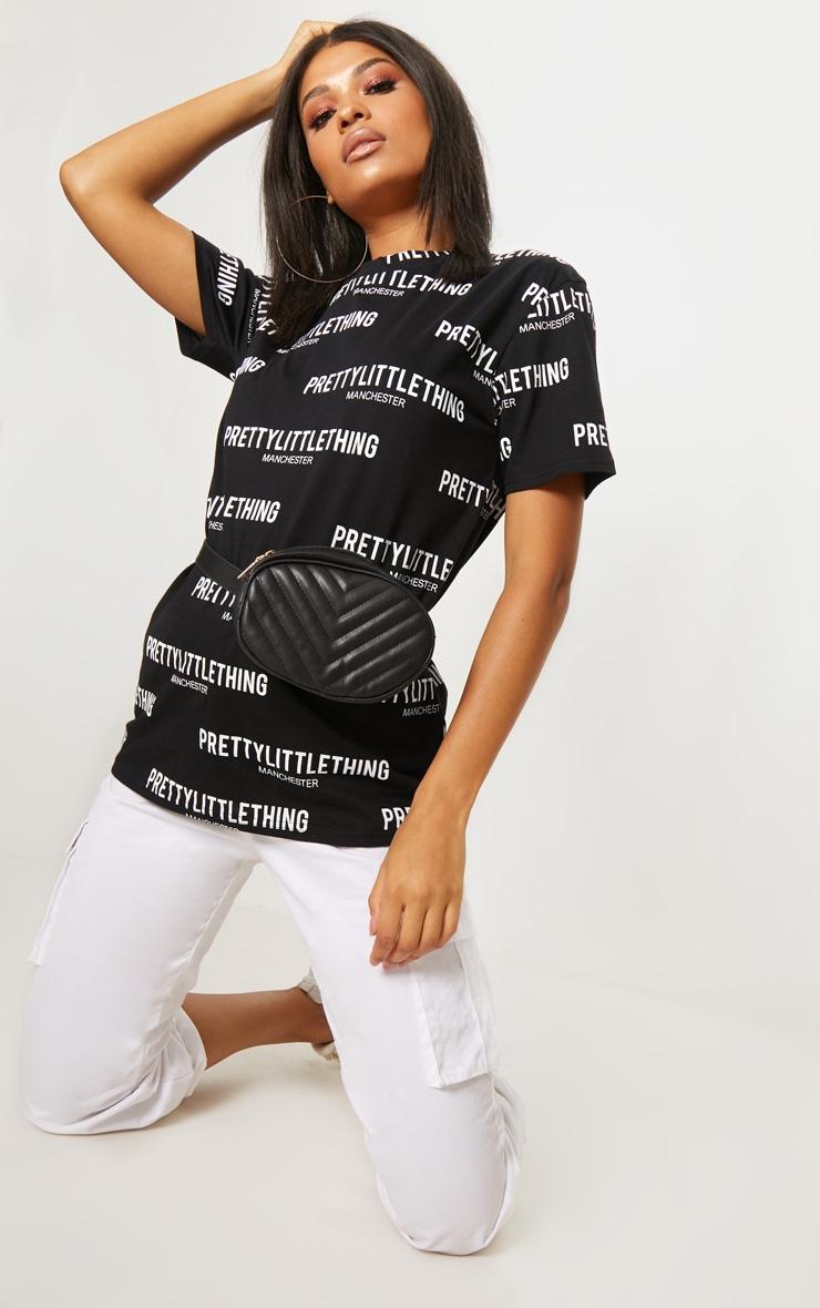 PRETTYLITTLETHING Black Manchester Slogan T Shirt