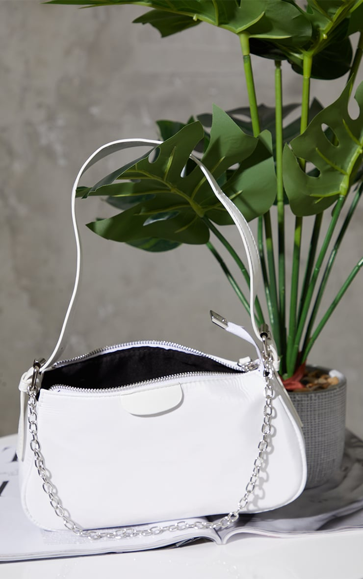 White Nylon Silver Chain Shoulder Bag 2