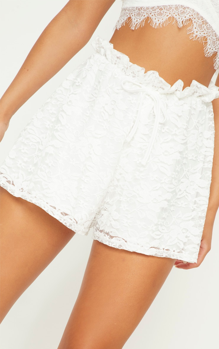 White Lace Tie Waist Short 6