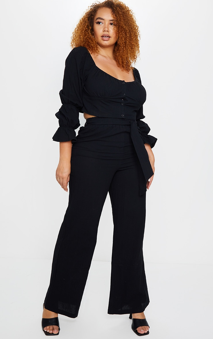 Plus Black Woven Wide Leg Fit Pants 1