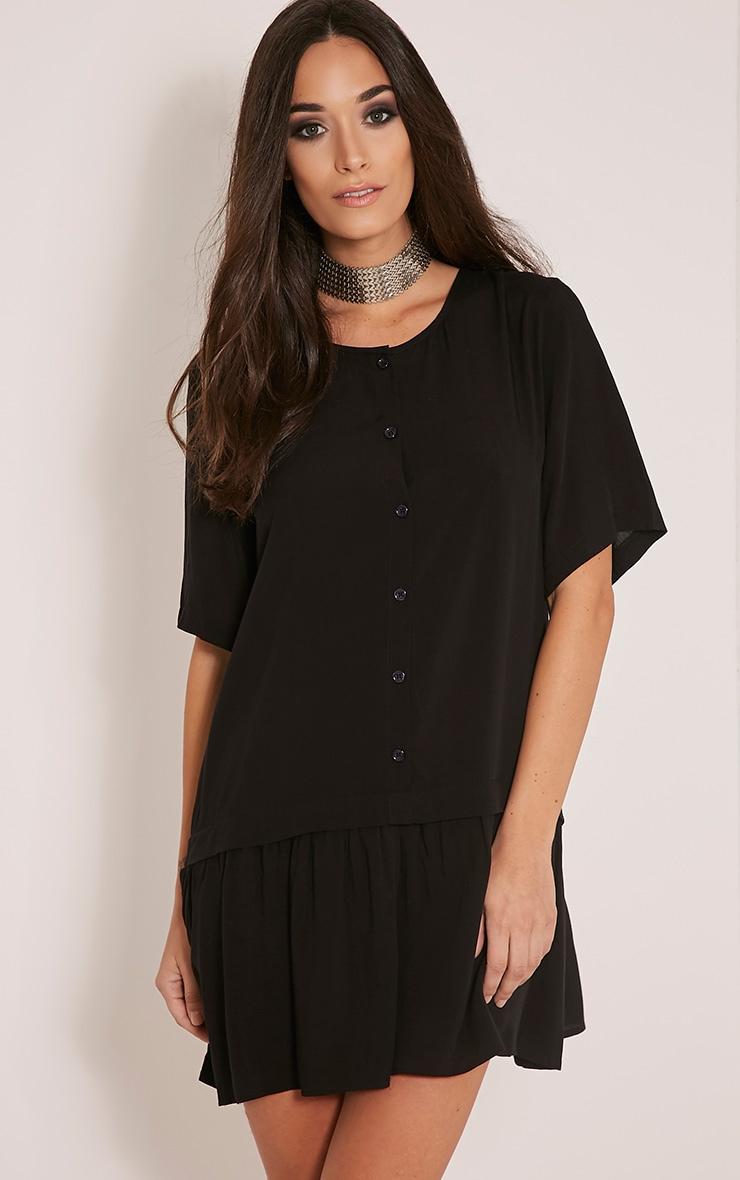 Lola Black Dropped Hem Shirt Dress 1