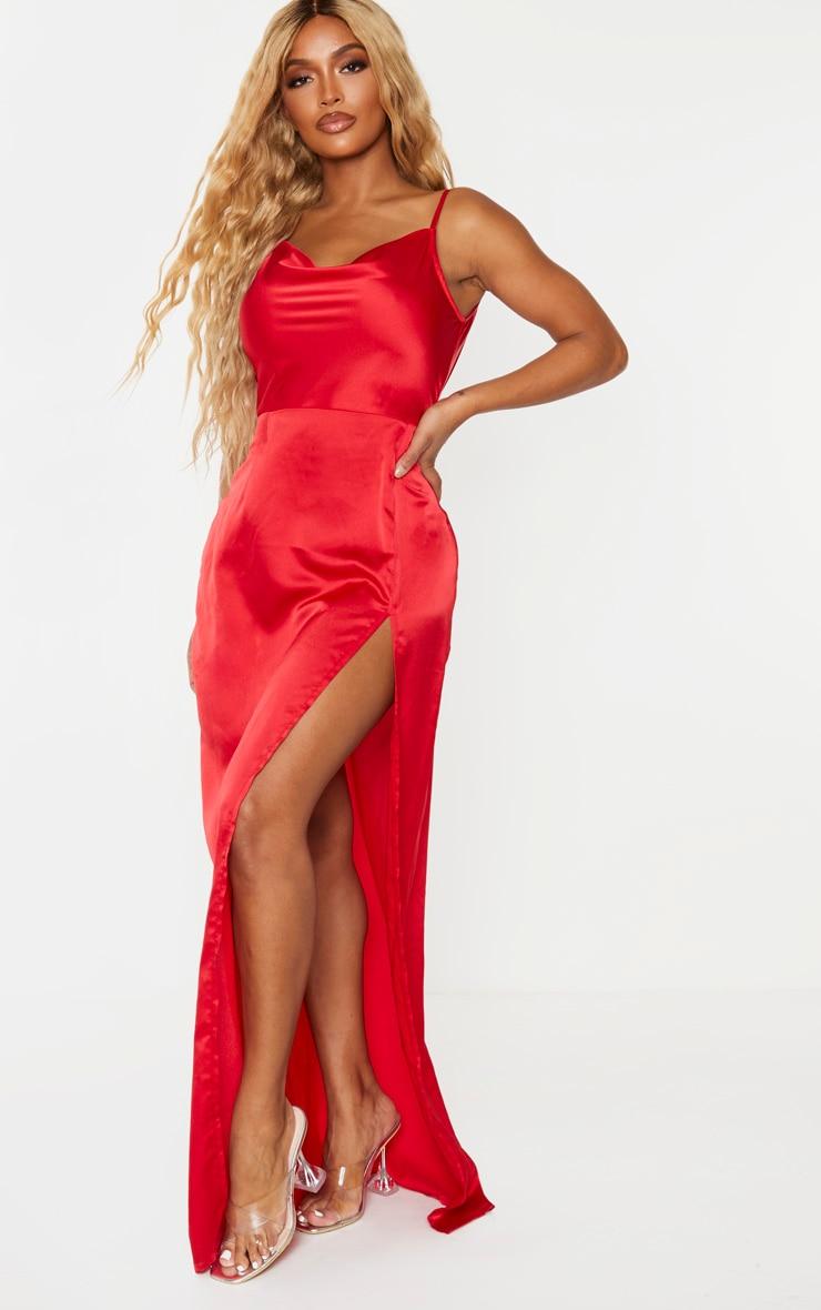 Shape Red Satin Cowl Neck Maxi Dress 4