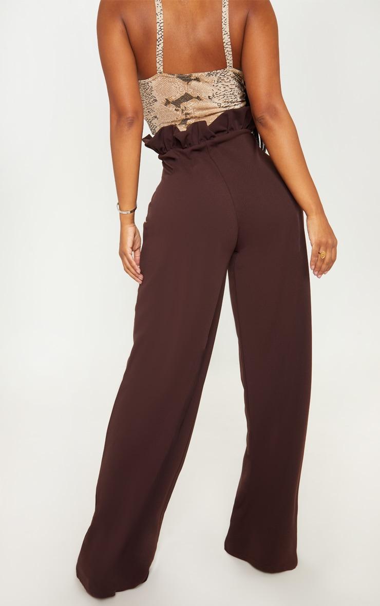 Shape Chocolate Brown High Waist Paperbag Wide Leg Trouser 3