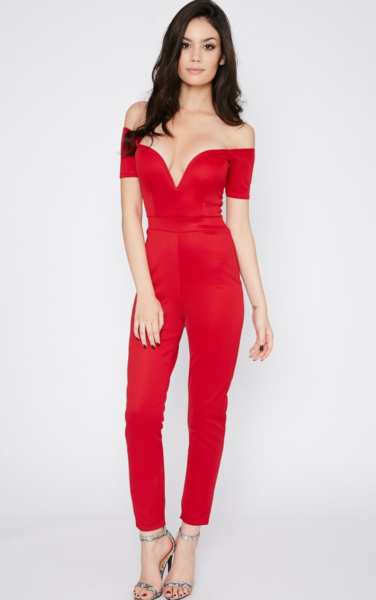 Azra Red Sweetheart Bardot Jumpsuit 3
