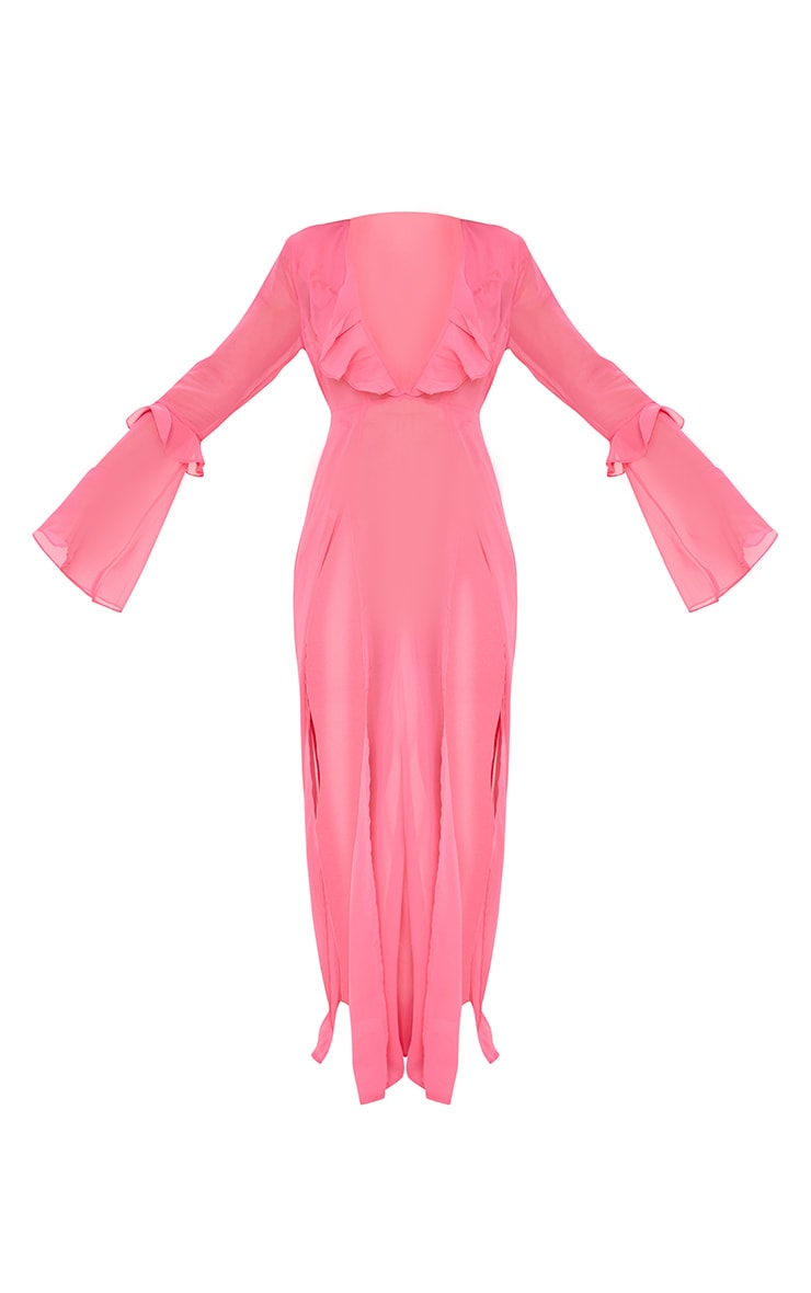 Pink Plunge Frilly Maxi Beach Dress 5