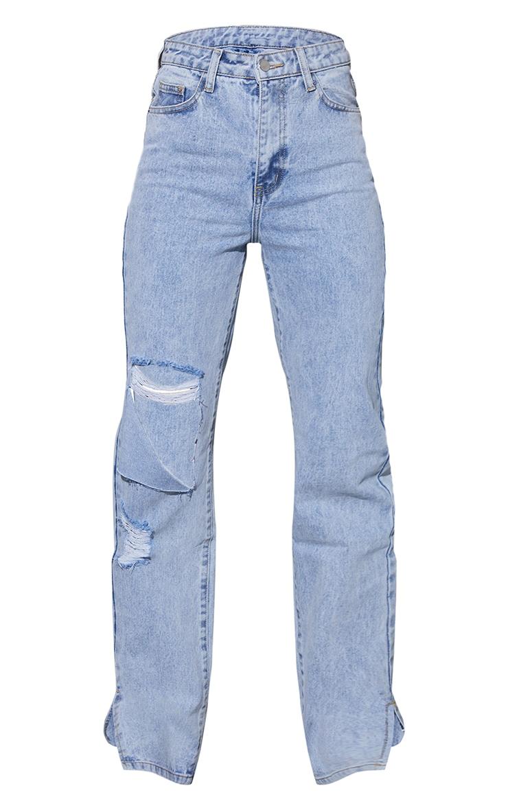Bright Blue Distressed Foldover Knee Split Hem Jeans 5