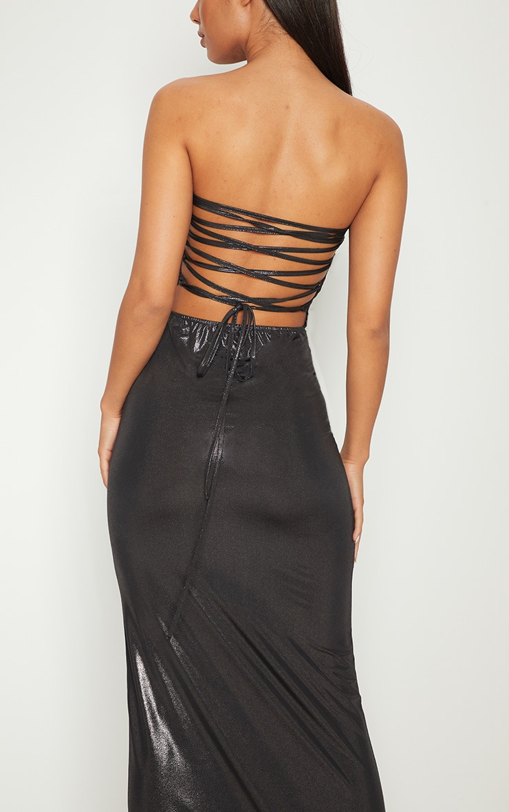 Black Bandeau Metallic Lace Up Back Maxi Dress 5