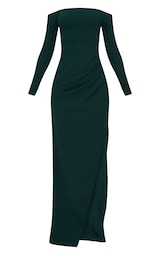 69fbd4cae82 Emerald Green Wrap Over Long Sleeve Bardot Maxi Dress image 3