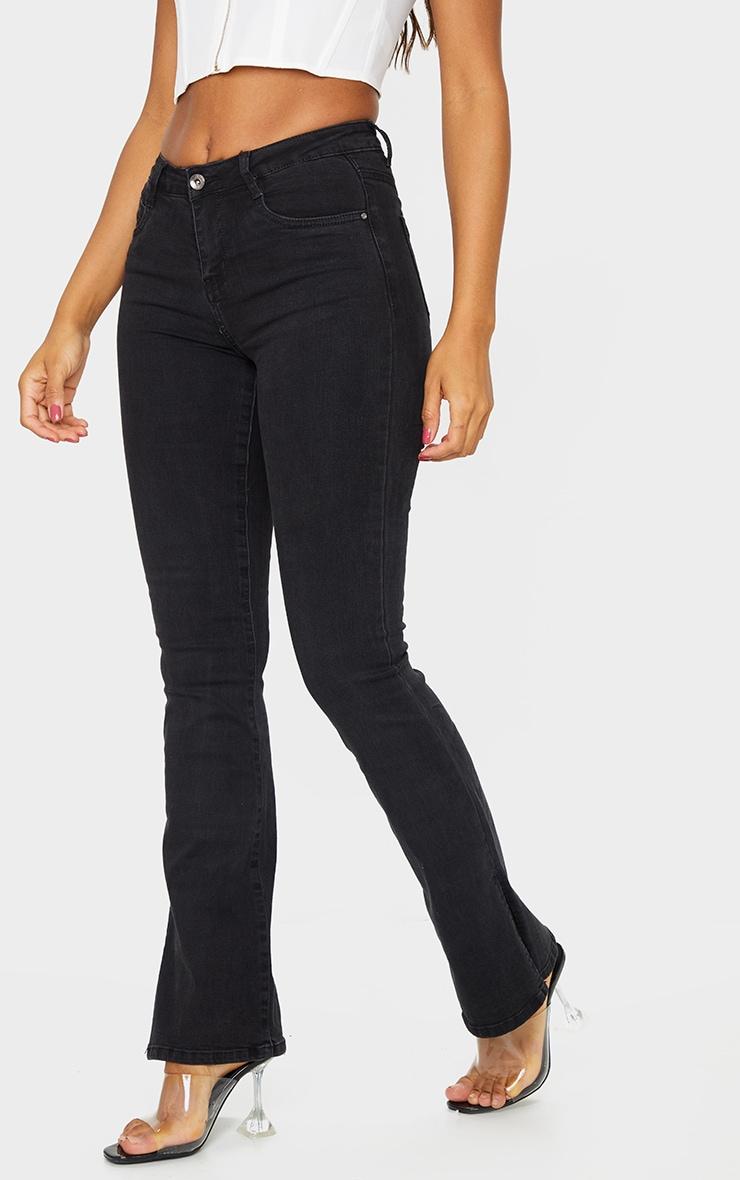 Black Split Hem Flare Jeans 2