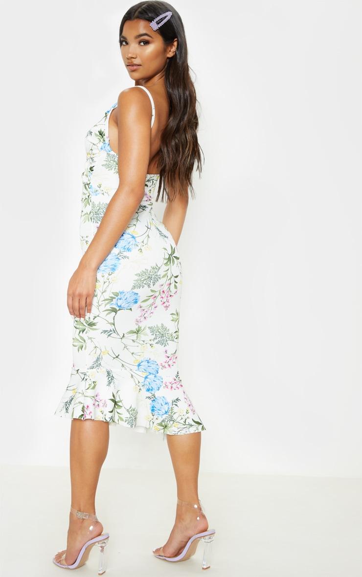White Floral Print Wrap Front Flute Hem Midi Dress 2