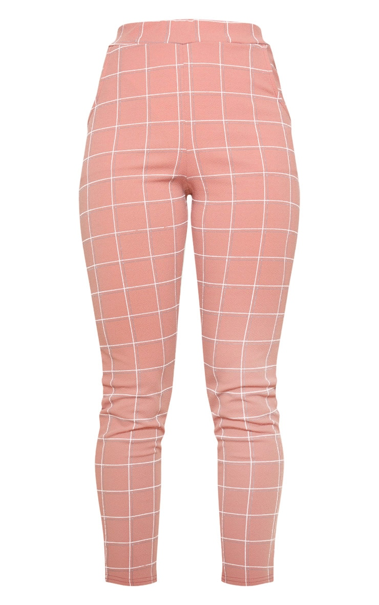 Dusty Rose Tweed Check Skinny Pants 3