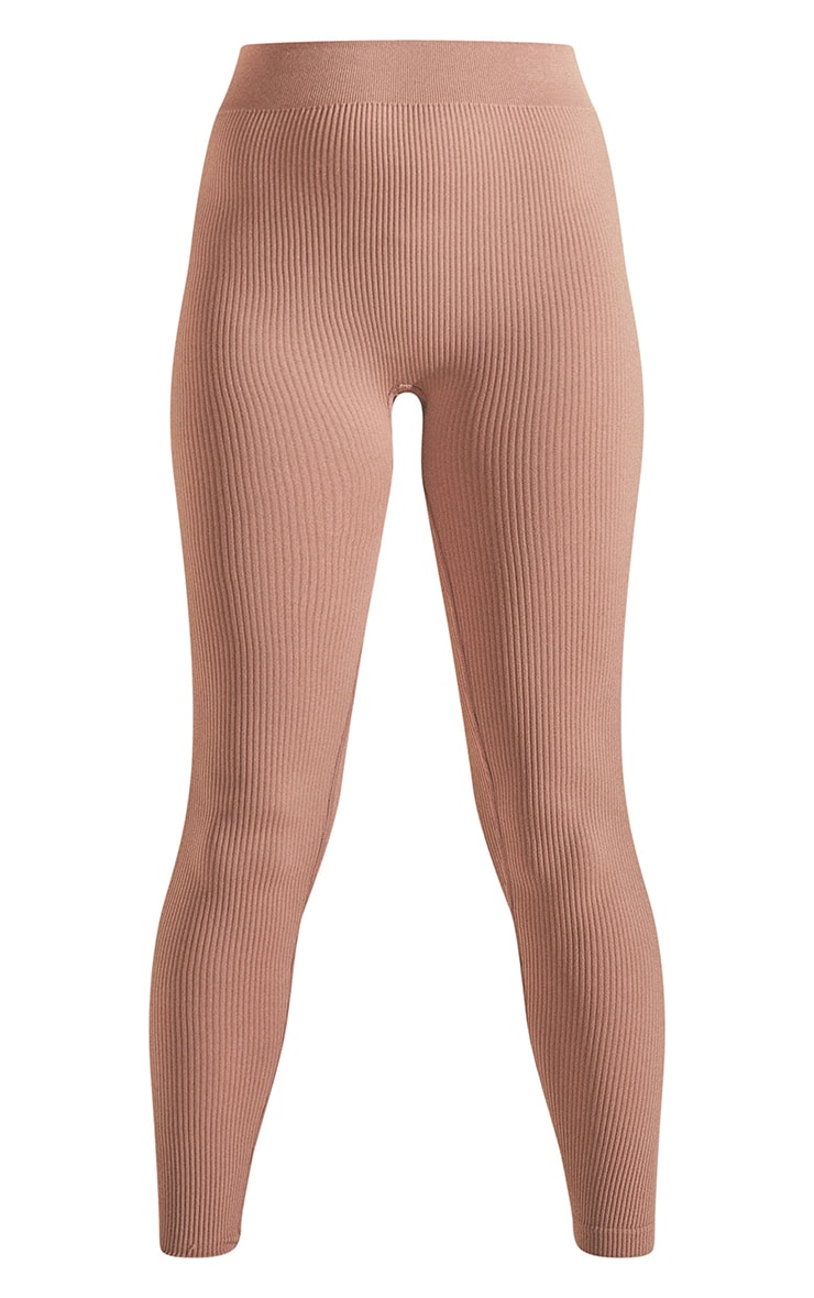 Taupe Structured Contour Ribbed Leggings 5