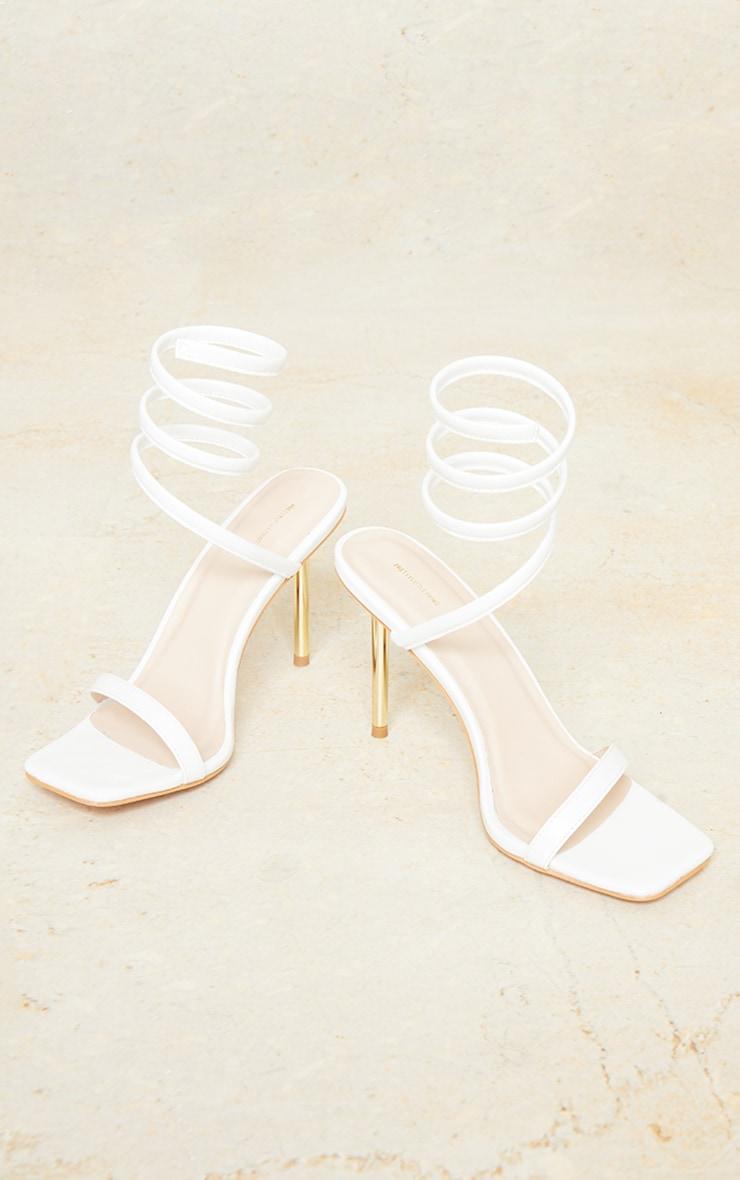 White PU Ankle Spring Metal Heel Sandals 4