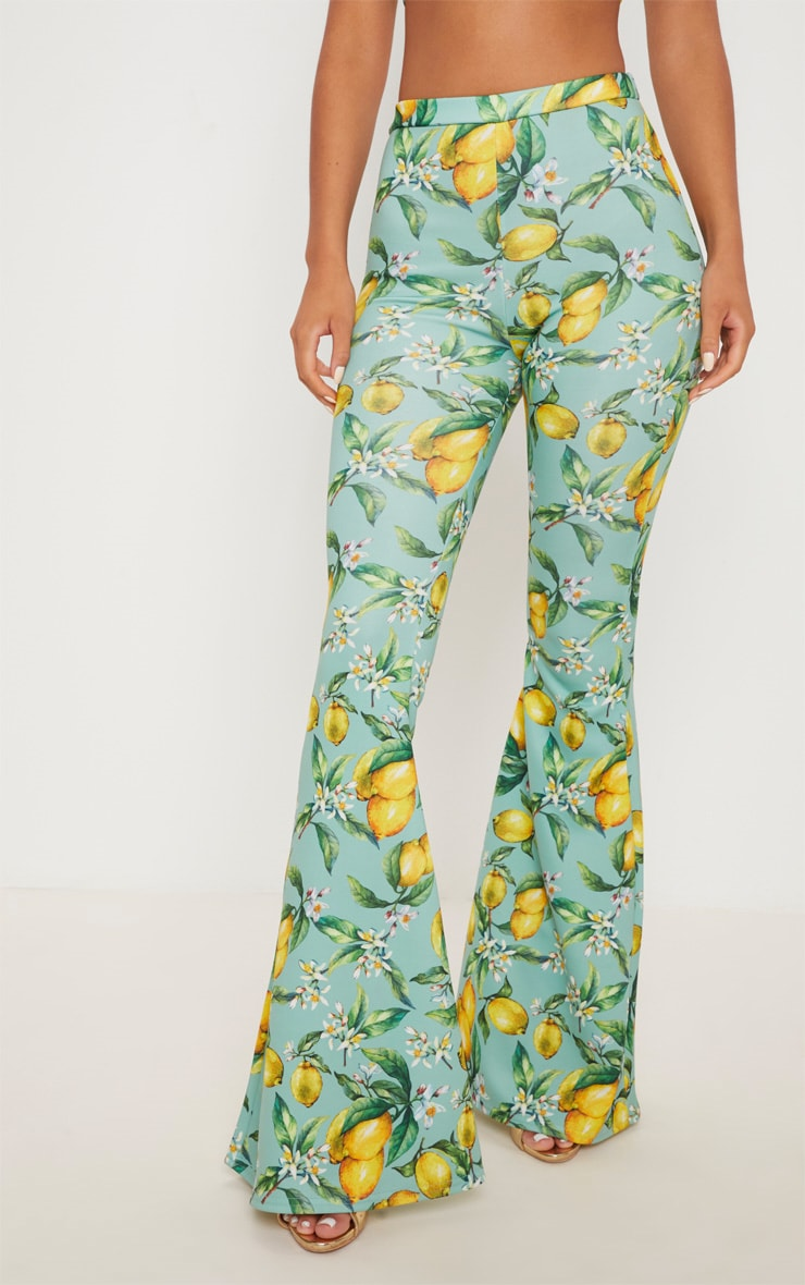 Sage Green Lemon Printed Scuba Extreme Flared Trousers 2