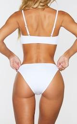 White Ribbed Two Tone High Leg Bikini Bottom 3