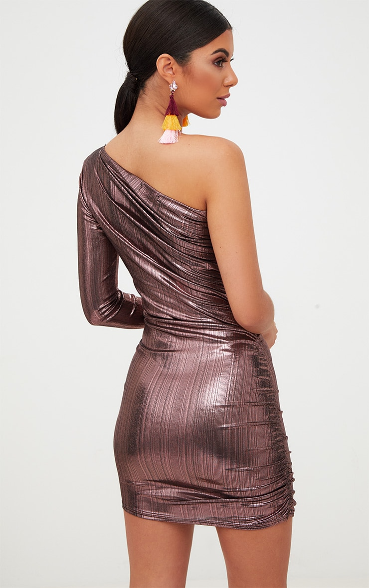 Pink Foil One Shoulder Ruched Bodycon Dress 2