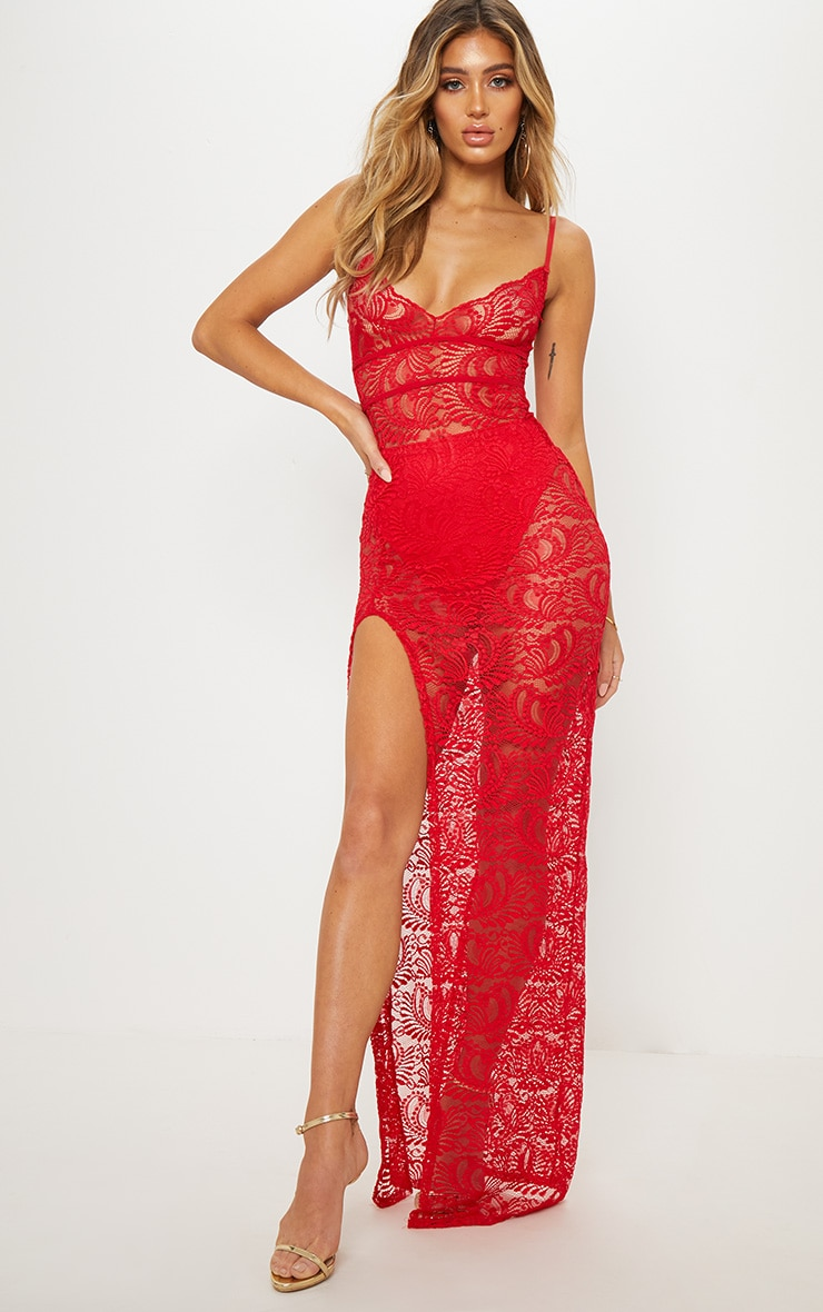 Red Sheer Lace Strappy Back Lace Maxi Dress 1