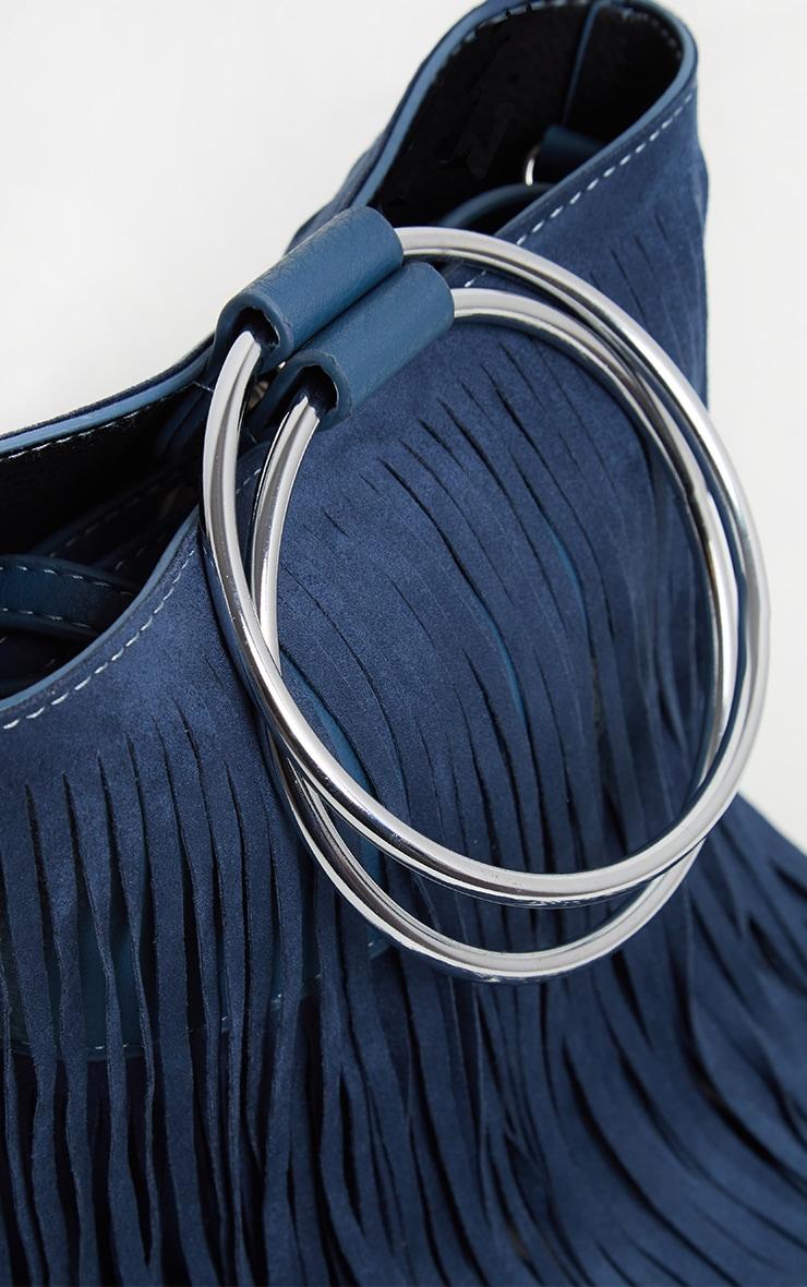 Teal Suedette Fringe Grab Bag 5