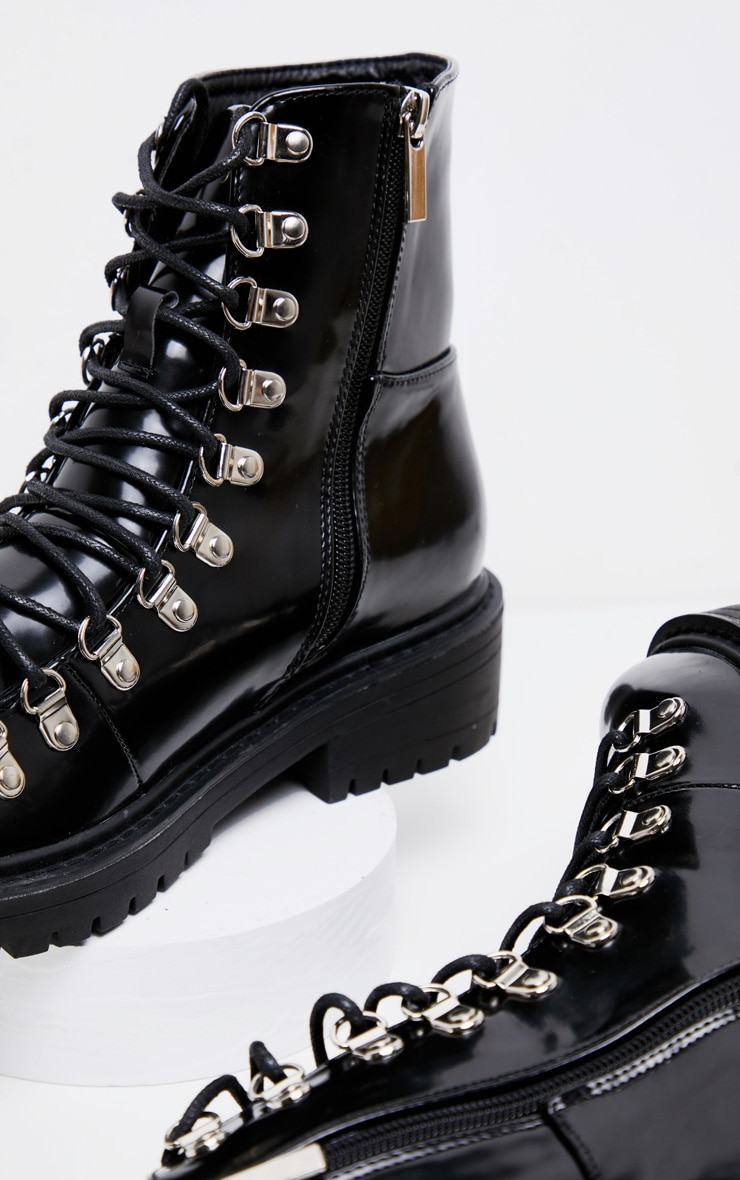 Black Cleated Sole Hiker Eyelet Ankle Boot 4