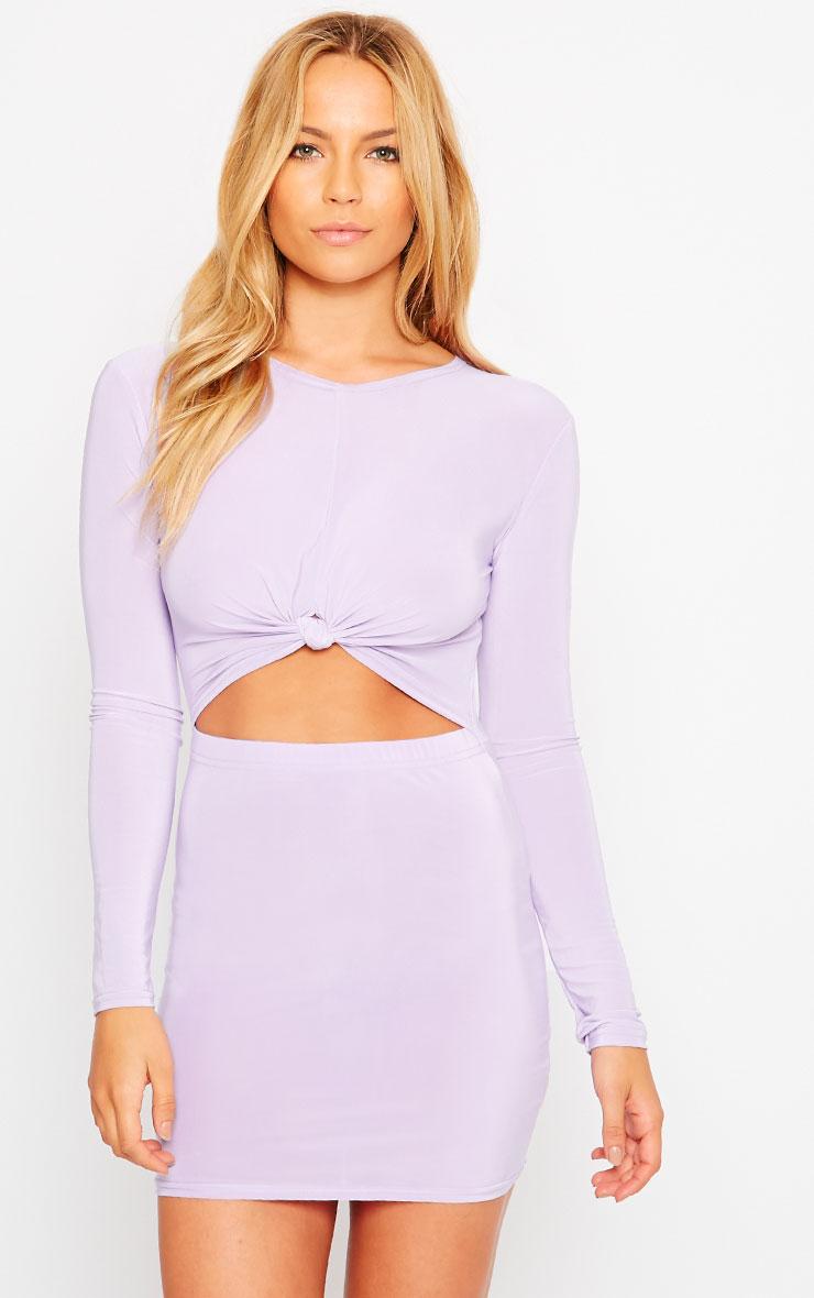 Zafia Lilac Long Sleeve Mini Dress 4