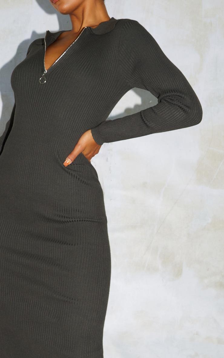 Khaki Half Zip Collar Detail Knit Maxi Dress 4