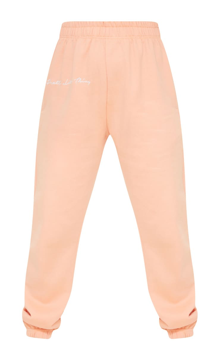 PRETTYLITTLETHING Petite Peach Embroidered Oversized Jogger 5