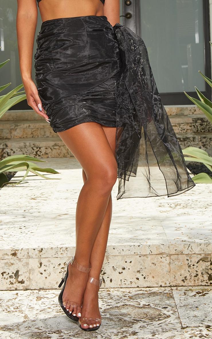 Black Organza Bow Detail Mini Skirt 2