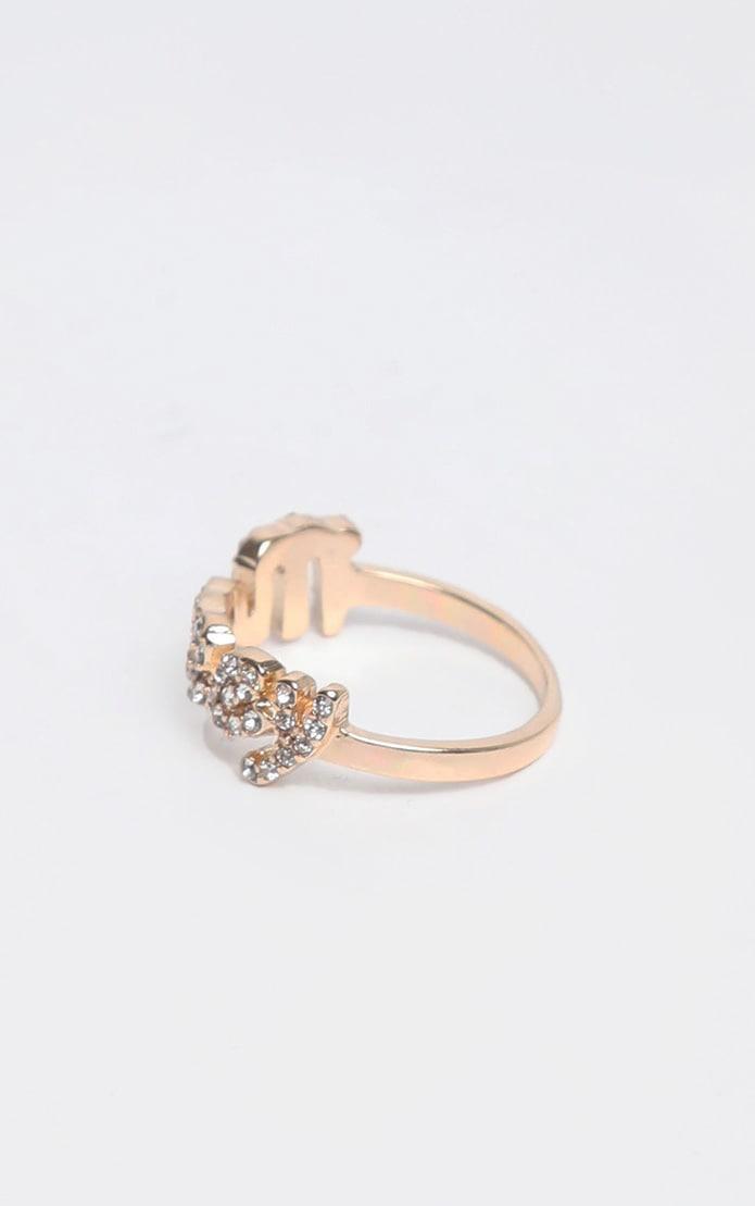 Gold Diamante Script Money Slogan Ring 3