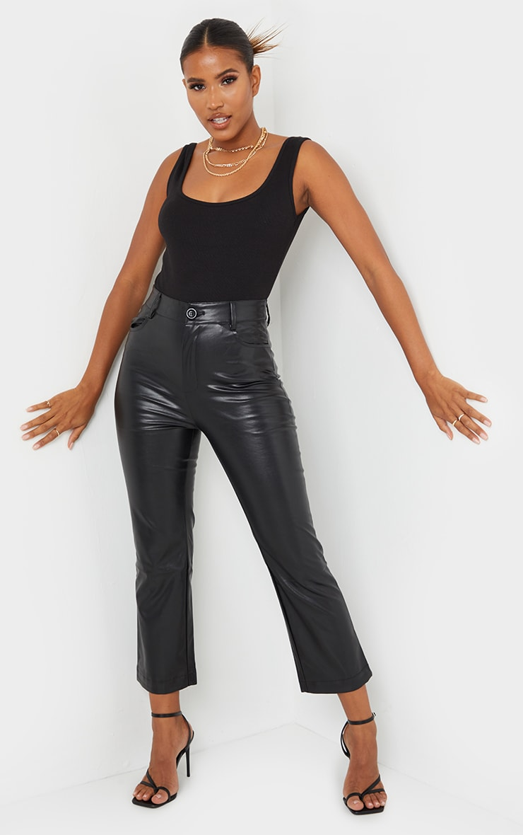 Black Faux Leather Cropped Trouser 1