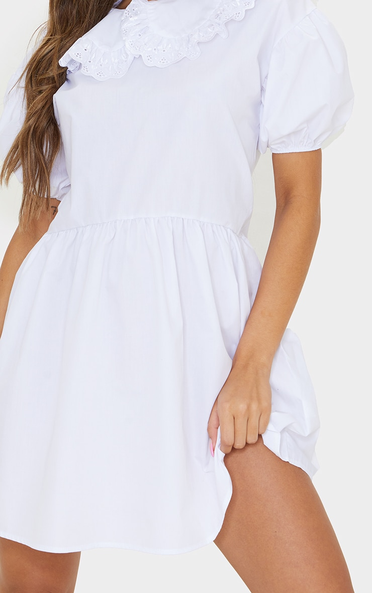 White Embroidered Frill Collar Short Puff Sleeve Smock Dress 4