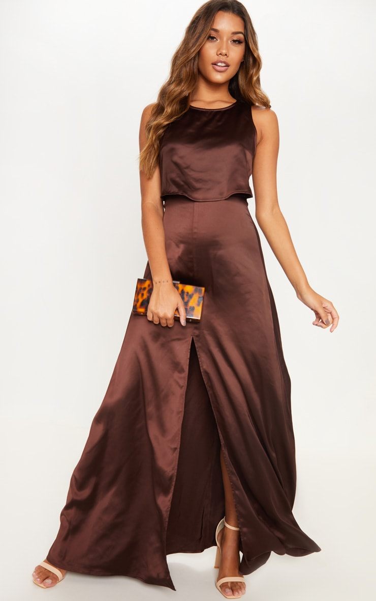 91693d2330 chocolate-brown-bonded-slinky-overlay-split-front-maxi-