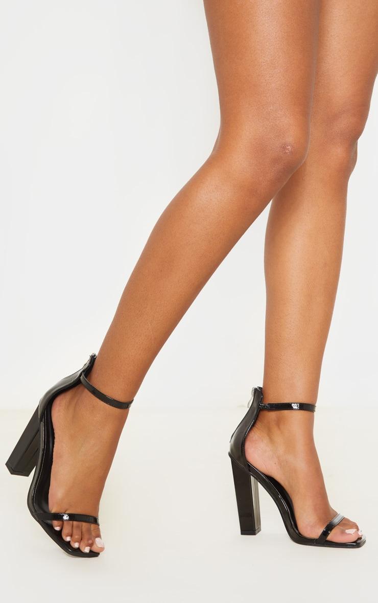 Black Square Toe High Block Heel Sandal 2